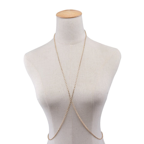 Women Body Chain Jewelry Bikini Waist Gold Belly Beach Harness Slave Necklace GD