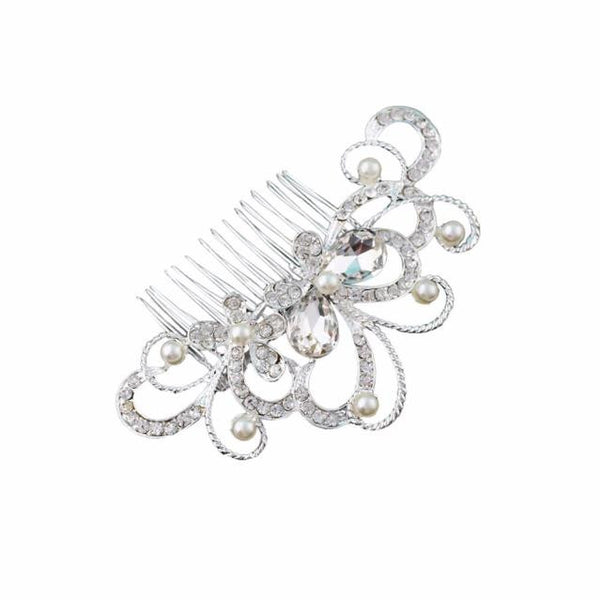Bridal Wedding Butterfly Diamond Pearl Hairpin Hair Clip Comb Jewelry