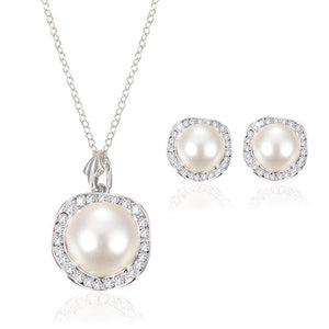 Women Bridal Crystal Wedding Jewelry Set Alloy Necklace Earrings Rhinestone