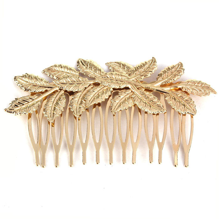 Hot Fashion Punk Women Girls Golden Leaf Hair Comb Hair Clip Jewelry