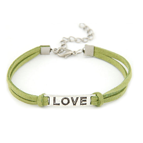 Women Men Love Handmade Alloy Rope Charm Jewelry Weave Bracelet Gift BU
