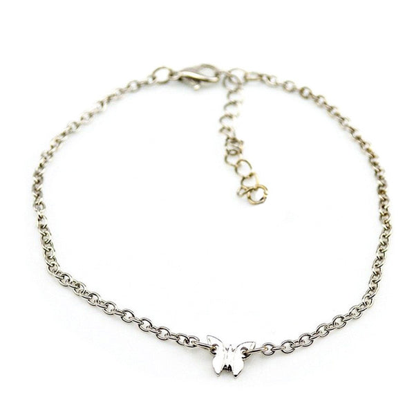 Women Beach Barefoot Toe Butterfly Chain Link Foot Anklet Chain Jewelry GD