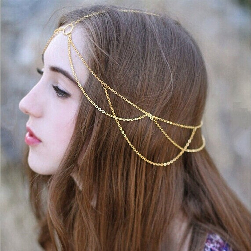 Fashion Women Head Jewelry Chain Headband Hair Band Headpiece Tassels
