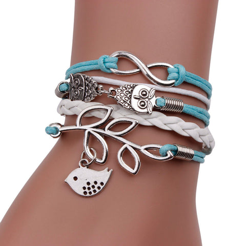 Handmade Infinity Silver 8 Owl Leaf Bird Leather Bracelet Wristband