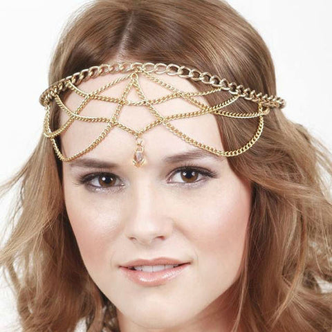 Multilayer Chain Jewelry Headband Head Crystal Hair Band Tassels Headpiece