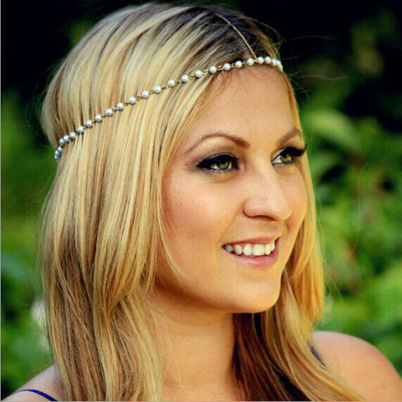 Women Head Jewelry Chain Headband Hair Band Headpiece Tassels Pearl