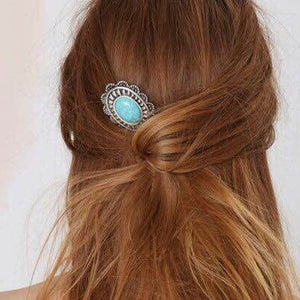 Fashion Women Retro Turquoise Alloy Sunflower Barrette Hair Pin Comb