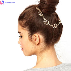 SUSENSTONE Women Fashion Leaves Metal Head Chain Leaf Chain Headband Combs Piece Gold