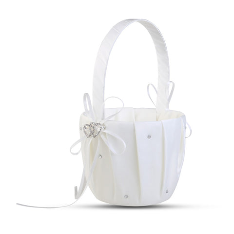 Romantic Bowknot White Satin Wedding Ceremony Party Flower Girl Basket