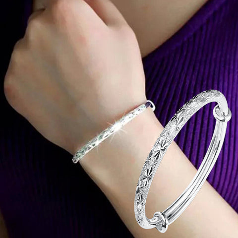 New Fashion Adjustable Bracelet Jewelry Silver Womens Charm Bangle Bracelet Gift