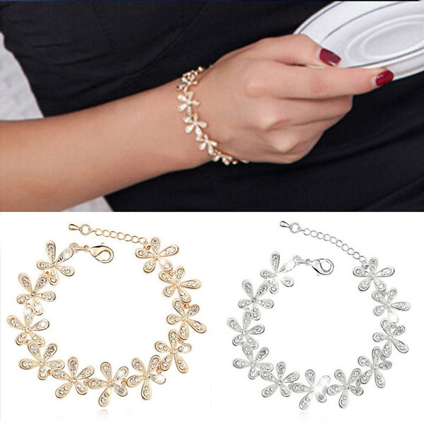 Women Elegant Crystal Snowflake Bangle Wrap Bracelet Jewelry
