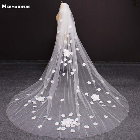Real Photos 2 Layers Flower Appliques Wedding Veil Beautiful 3 M Long Cover Face 2 T Bridal Veil with Blusher Voile de Mariee