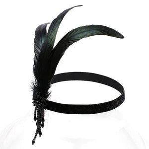 Black Feather 1920s Flapper Headpiece Beaded Charleston Headband Retro Style Roaring 20s Vintage Great Gatsby Hair Accessories