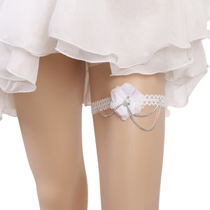 Bridal Wedding Garter Lace Rhinestone Flower Garters Decorations for Bride and Bridesmaid