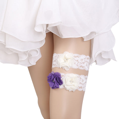 Bridal Wedding Garter Lace Beads Flower Garters Decorations for Bride and Bridesmaid