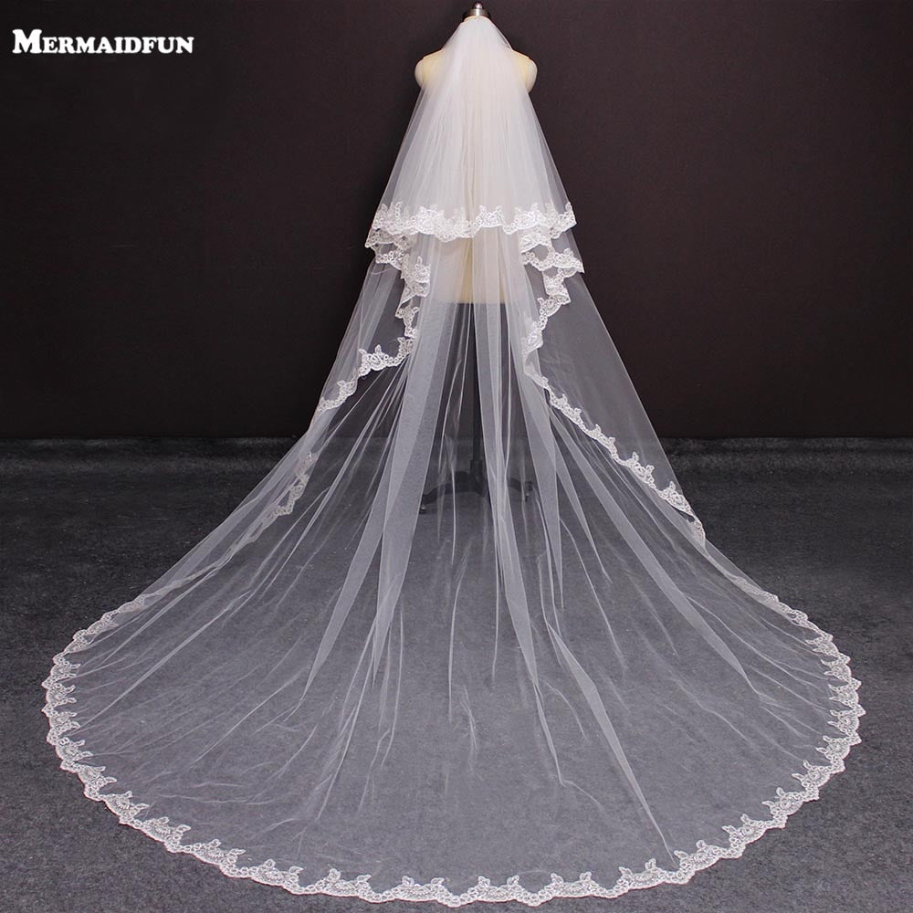 Real Photos 2 Layers Bling Sequins Lace Long 3 M Wedding Veil White Ivory Blusher Bridal Veil with Comb Wedding Accessories
