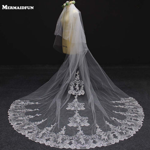 New 2 Layers Luxury Bling Sequins Lace Appliques Wedding Veil with Comb 3 Meters Long Cover Face Bridal Veil Wedding Accessories