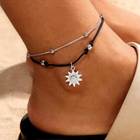 Double Chain  Sun Anklet Jewelry Beach Section Anklets Beads Boho Foot Gothic Bo