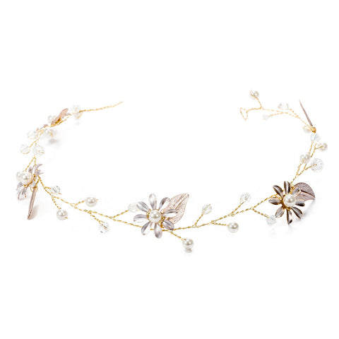 Bridal Flower Hairband Bride Pearl Hair Band Headpiece Headwear Wedding Accessories