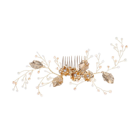 Wedding Hair Comb Bridal Floral Hair Comb Handmade Crystals Hair Pieces Wedding Headwear Comb (Golden)