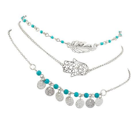 Hamsa Evil Eye Leaf Feather Turquoise Bead BFF Best Friends Forever Anklet Set (3 PC).