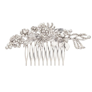 Pave Floral Faux Pearl Crystal Leaf Bridal Hair Comb