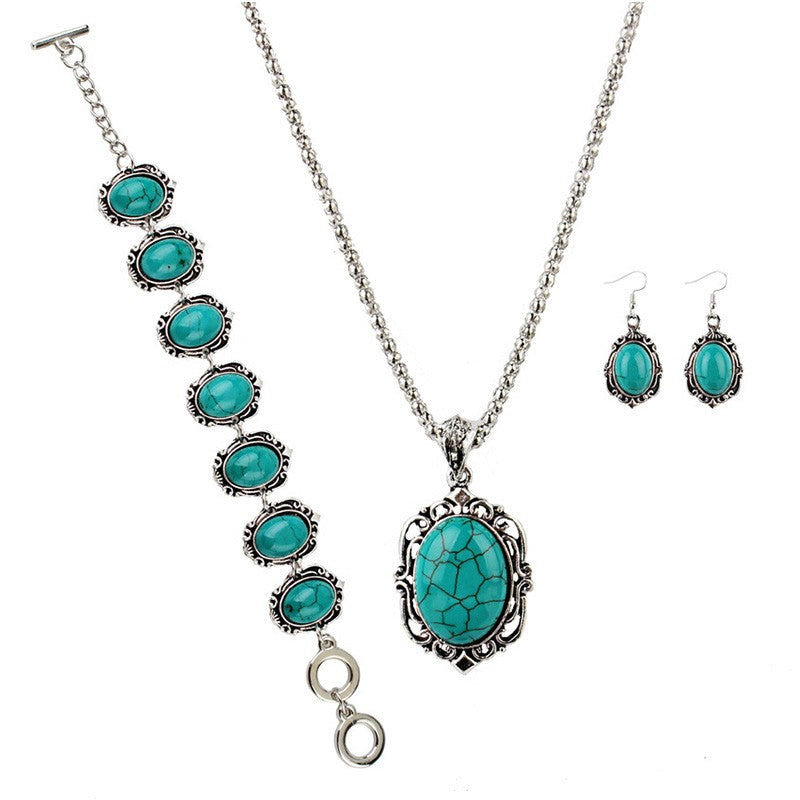 Women Creative Imitation Turquoise Decoration Earrings Necklace Bracelet Jewelry Set