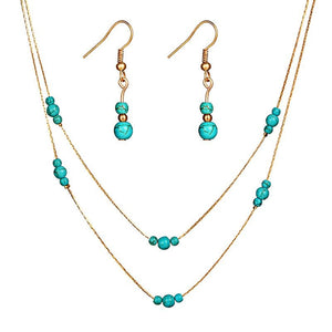 Women Vintage Style Simple Double Layers Turquoise Stone Beaded Necklace Earrings Set