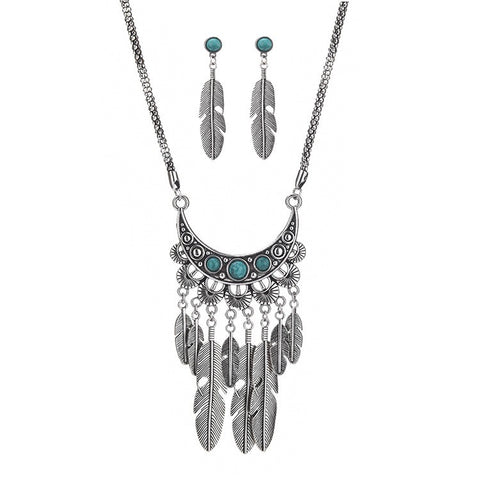 Fashion Design Boho Style Feather Tassel Handmade Necklace And Earrings Women Alloy Silver Jewelry Set