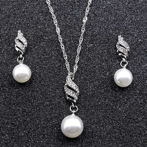 Imitation Pearl Pendant Elegant Women Fashion Silver Alloy Necklace Earrings Set