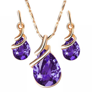 Lady Luxury Shiny Glass Water Drop Shape Pendant Earrings Necklace Jewelry Set