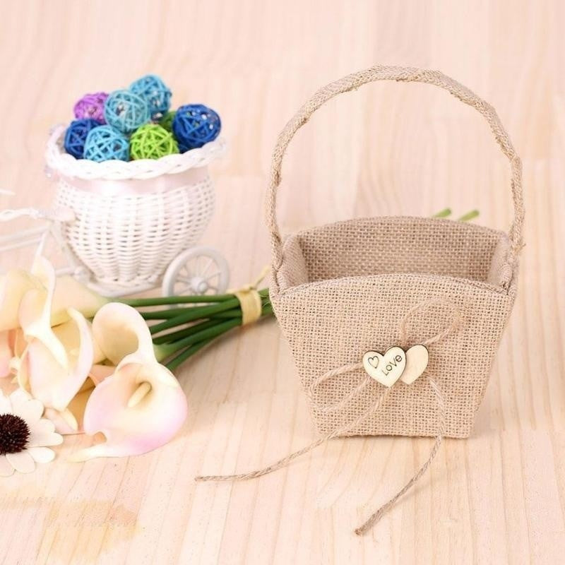 Double Heart Wedding Flower Girl Basket with Bowknot