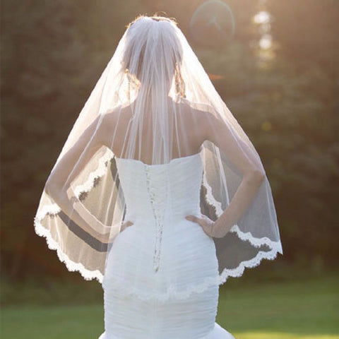 New Fashion Wedding Veil White One-tier Elbow Veils Lace Applique Edge