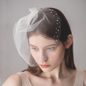 SLBRIDAL One-Layer Crystals Wedding Face Veils With Combs White Bridal Veils Wedding Wear Accessories For Bride Mariage Women