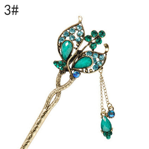 Retro Vintage Style Bridal Wedding Party Hairpins Elegant Women Colorful Butterfly Flower Hair Sticks Rhinestone Hair Accessory