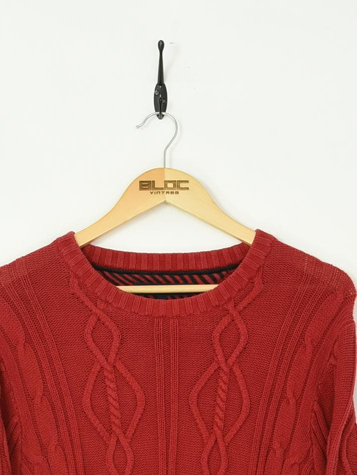 Tommy Hilfiger Knitted Sweater Red Medium - BLOC Vintage Clothing