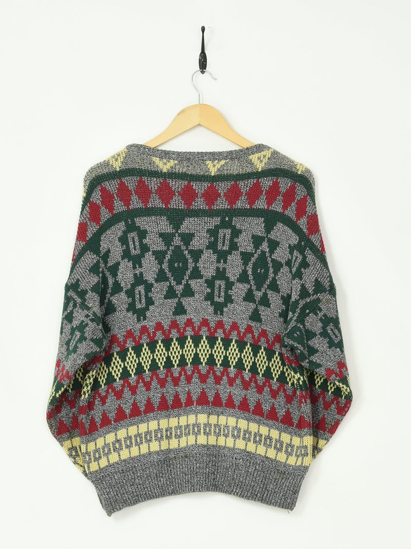 Patterned Knitted Sweater Grey Large - BLOC Vintage Clothing