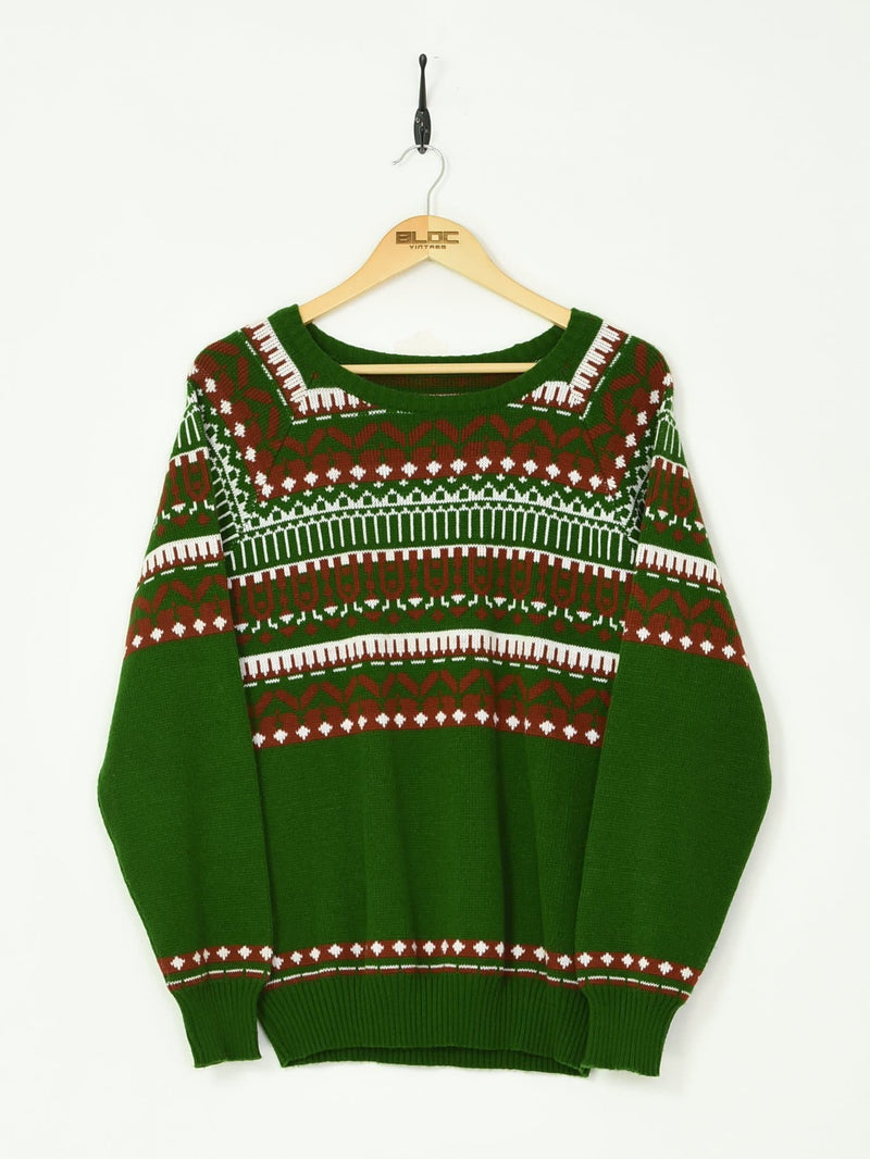 Patterned Knitted Sweater Green Medium - BLOC Vintage Clothing