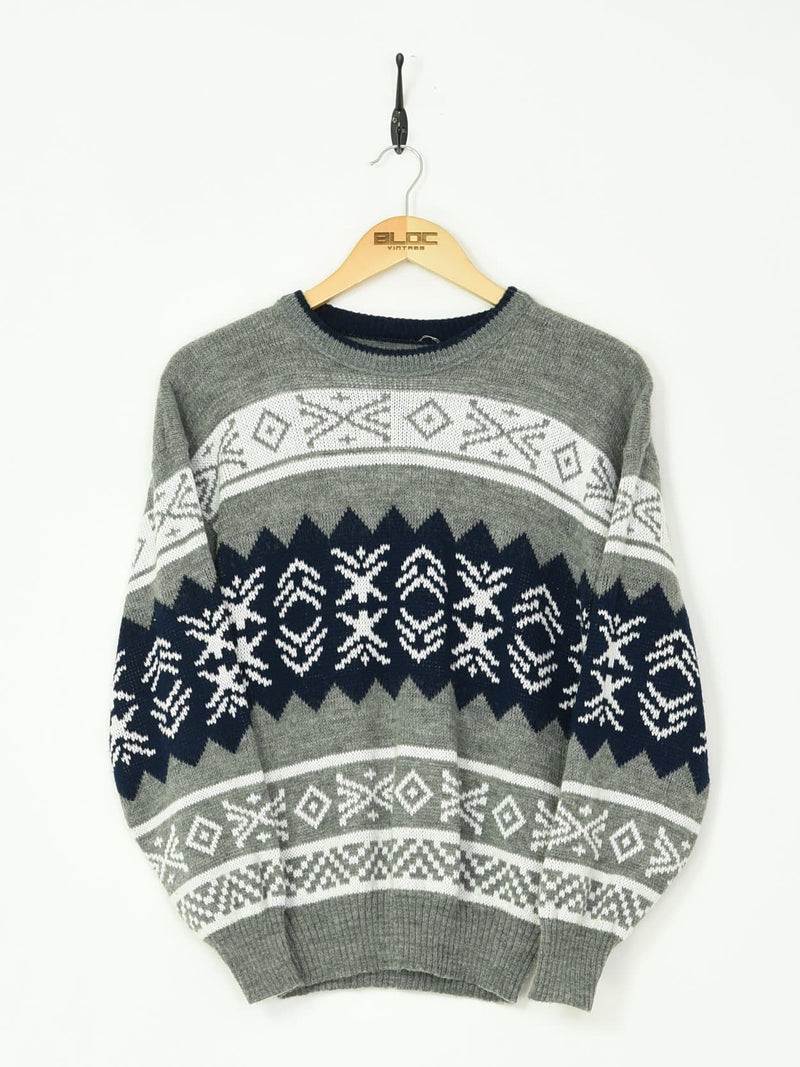 Patterned Knitted Sweater Grey XSmall - BLOC Vintage Clothing