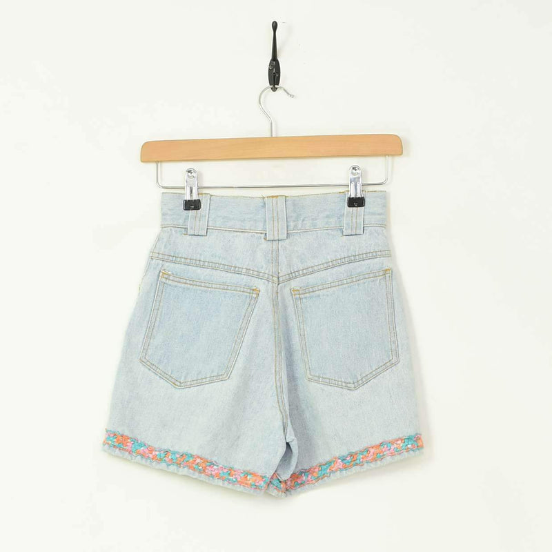 High Waisted Womens Shorts Blue XXSmall - BLOC Vintage Clothing