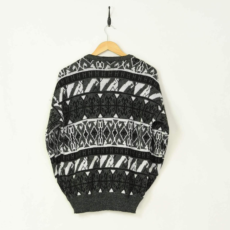 Patterned Knitted Sweater Grey Small - BLOC Vintage Clothing