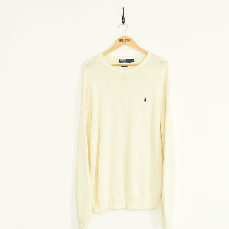 Ralph Lauren Knitted Sweater Cream XXLarge - BLOC Vintage Clothing