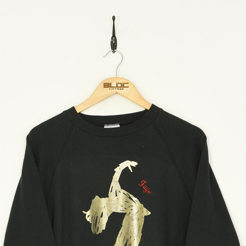 Ice Skating Sweatshirt Black Medium - BLOC Vintage Clothing