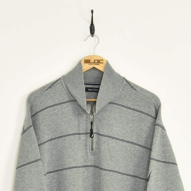 Nautica Quarter Zip Sweatshirt Grey XXLarge - BLOC Vintage Clothing