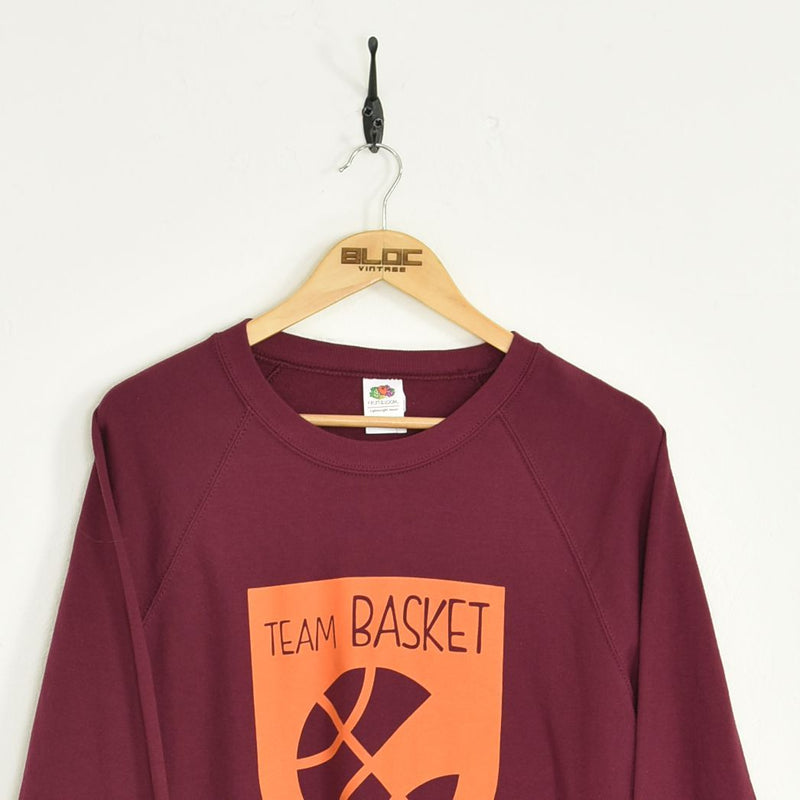 Team Basket Hooded Sweatshirt Maroon Medium - BLOC Vintage Clothing