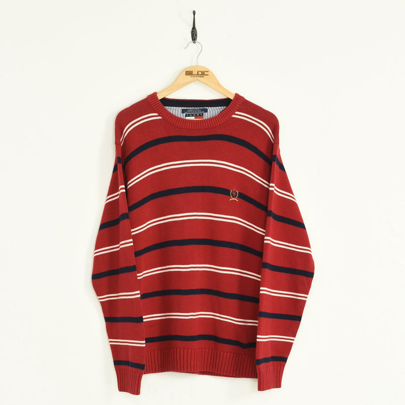 Tommy Hilfiger Sweater Red Large - BLOC Vintage Clothing