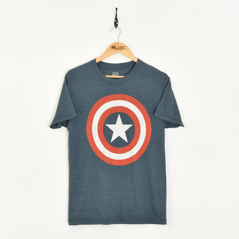 Captain America T-Shirt Blue Small - BLOC Vintage Clothing