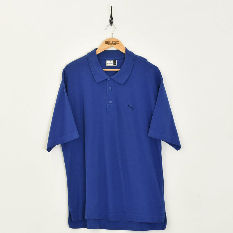 Puma Polo T-Shirt Blue XXLarge - BLOC Vintage Clothing