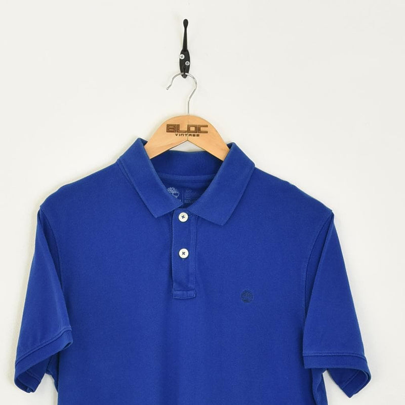Timberland Polo T-Shirt Blue Large - BLOC Vintage Clothing