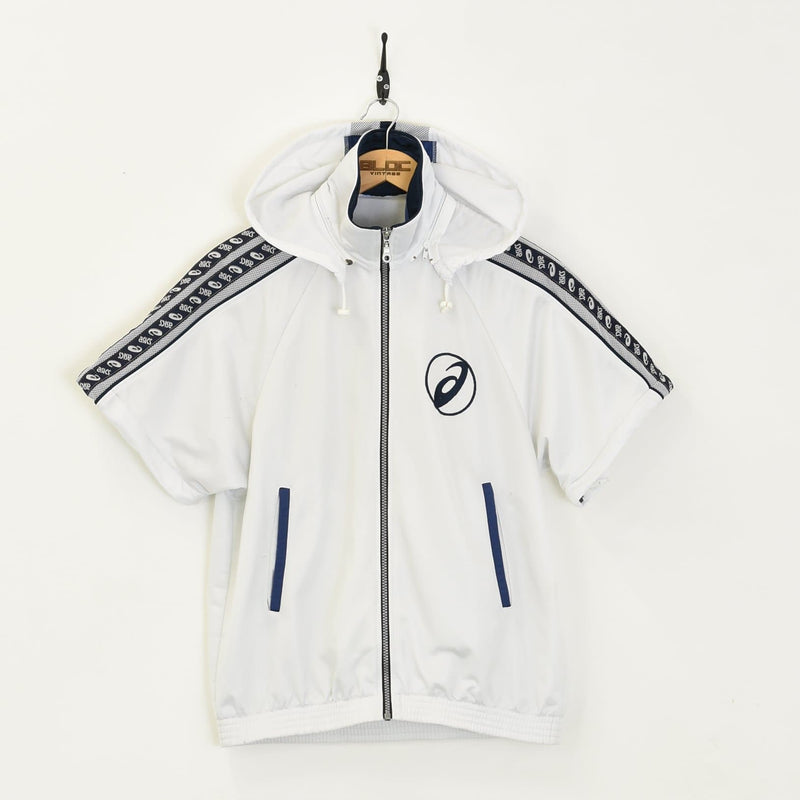 Asics Hooded Tracksuit Top White Small - BLOC Vintage Clothing